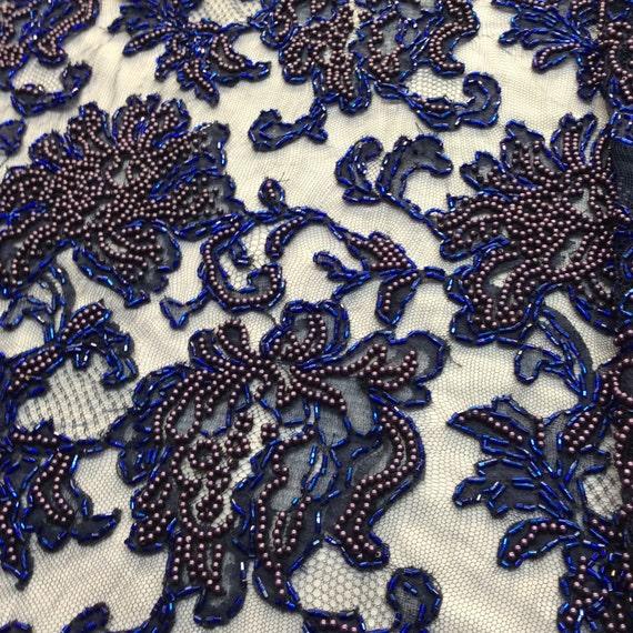 navy blue beaded fabric lace c01 120