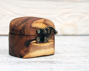 Wooden Jewelry Box. Wedding Ring Box with engraving. Engagement Ring Box