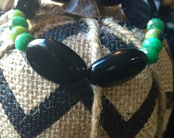 Green and Black Stretchy Bracelet