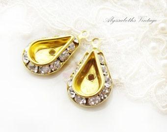 Swarovski Crystal Rhinestone Settings for 13x8mm Teardrop Stones 1 Ring Drop Dangles -Pair