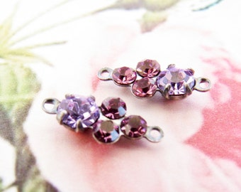 Petite Violet and Amethyst Swarovski Rhinestones Round Stones in Antiqued Silver 2 ring Connector Settings - 2