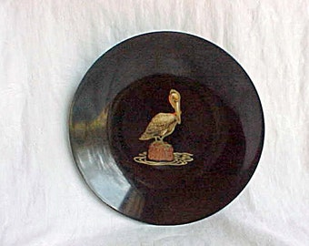 Vintage Couroc Pelican on Post Round Serving Bowl - Couroc of Monterey Black Snack Dish - Mid Century Modern Natural Material Inlay - 7 3/4""