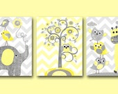 Kids Wall Art Baby Shower Gift Playroom Wall Decor Baby Nursery Art Print Childrens Wall Art Baby Room Decor set of 3 Gray Yellow /