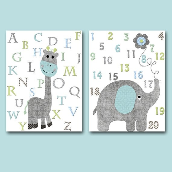 Alphabet Wall Decor Nursery : Giraffe alphabet nursery wall decor elephant numbers print
