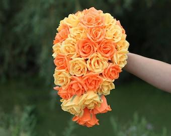 cascade paper bouquet bridesmaids bouquet orange wedding cascading bouquet bridal bouquet roses no round bouquet paper teardrop bouquet