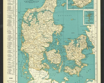 Vintage Map of Denmark From 1937 Original