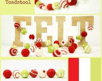 Felt Balls // DIY Garland // Christmas Ornament and Decoration // Felt Beads // Swirl Balls // Toadstooll Mixed Set // 30 balls // 2.5cm