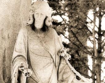 Beautiful peaceful woman goddess statue, fine art photography
