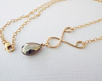 Pyrite Gold Necklace Gemstone 14k gold filled