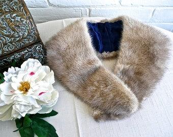 Vintage Mink Collar - Blond Mink Coat Collar - Peter Pan Style Collar - Genuine Mink Collar - Vintage Fur Collar - Collar Lined with Satin
