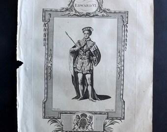 Russell 1779 Antique Portrait Print. Edward VI