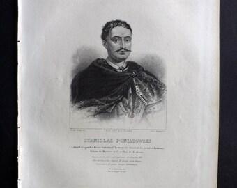 Chodzko Poland 1843 Antique Portrait Print. Stanislas Poniatowski