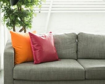 Orange Linen Pillow Cover