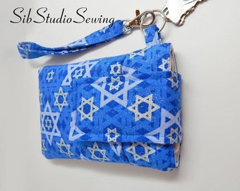 "Hanukkah Smartphone Wristlet, Fits iPhone 6, Smartphones up to 5.75"" x 3.5"", Cell Phone Pouch, Key Ring, Pocket, Chanukah Phone Clutch"