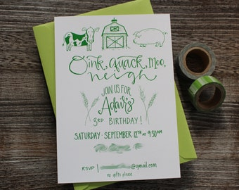 Barnyard Children's Birthday Party Invitation