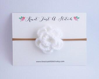 White Large Crochet Flower Headband or Clip