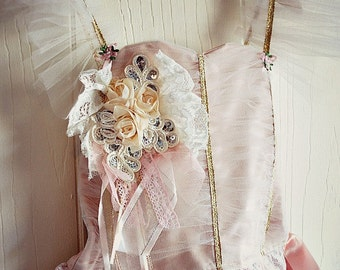Vintage Style Recital Dress for Girl Toddler Pink and IvoryTutu with Lace 4T Only Birthday or Wedding