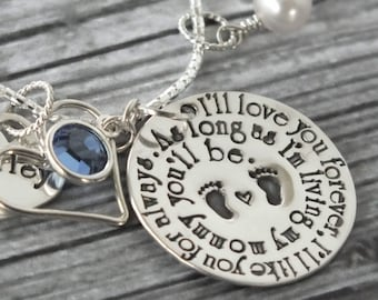 Mommy Birthstone Necklace / Forever Love Infinite Bond / Book Inspired I'll Love You Forever / Personalized Hand Stamped Sterling Silver