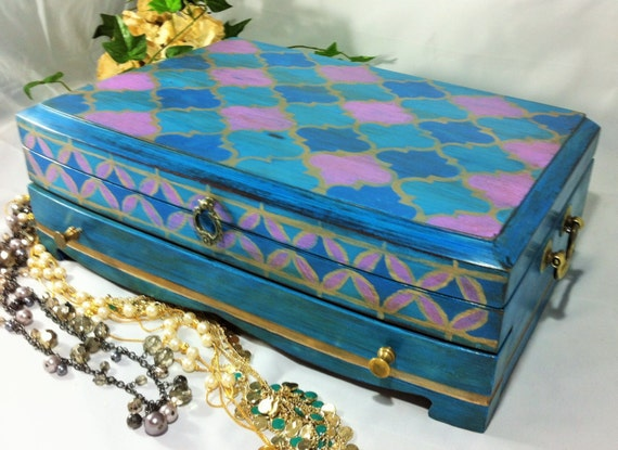 Cot In A Box Morocco Turquoise: Large Turquoise Moroccan Jewelry Box Hand Painted With Blue
