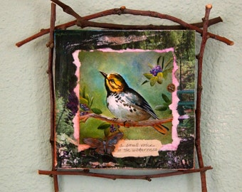 small cabin style mixed media bird painting