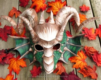 FREE SHIPPING in the US*! Green Dragon mask with Large Curling Ram Horns and side Frills, Perfect for Halloween, LARPing and More!