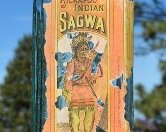 LARGE original INDIAN SAGWA quack antique medicine bottle - from 1800's.