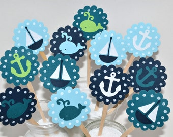 12 Whale Cupcake Toppers/ Nautical Baby Shower/ Whale Party Decor / Sailboat Cupcake Toppers / Anchor Cupcake Toppers/ Nautical Party Favors