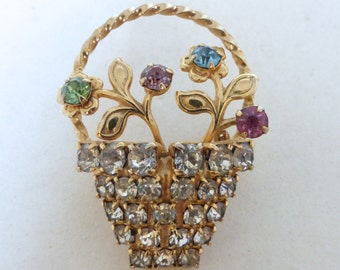 Vintage 1950's Sweet Gold Flower Basket with Rhinestone Crystals Pin