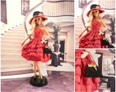 evening gown red and black barbie doll