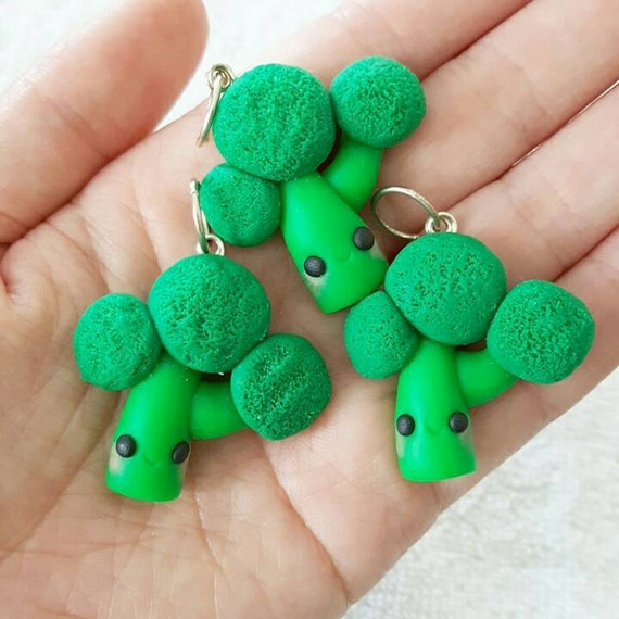 Broccoli Necklace Charms, Broccoli Charm, Vegetable, Veggie, Polymer Clay Pendant, BFF, polymer clay, pendant, Kawaii, Chibi, Clay Charm