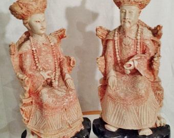 Asian Royalty Enthroned Emperor, Empress King, Queen, Resin Vintage,