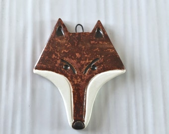 Sly fox pendant, handmade ceramic fox head pendant