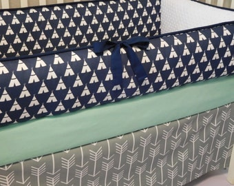 Tee Pee Navy/Grey Arrow/Mint Cotton 1pc-4pc Crib  Bedding Set.(Bumper,Skirt, Fitted Sheet)