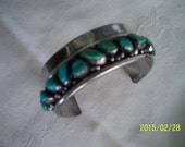 Bracelet, sterling, old Navaho Indian, turquoise stones, cuff style