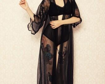 Full length retro polka dot robe