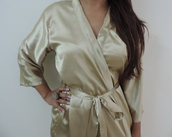 Code: H-12 Satin Solid Color Kimono Crossover patterned Robe Wrap - Bridesmaids gift, getting ready robes, Bridal shower favors, baby shower