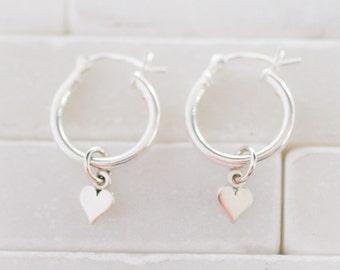 Sterling Silver Hoops - Heart Earring - Hoop Earrings - Star Earrings - Silver Hoops - Heart Charm Earrings - Star Charm Earrings