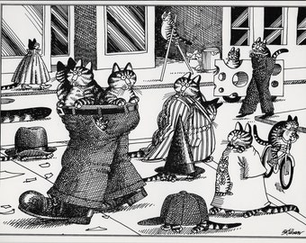 Funny Cat Art, Kliban Cat, Cat Cartoon, 1979, B Kliban Cats, Bernard Kliban, Vintage Cat Print, Kliban Cats Images, Kliban Art, Kliban Art