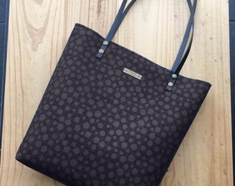 Tote bag,personalized, Dot Charcoal,color inside,Leather straps,your initials,handbag,Tote fabric bag,Tote bag