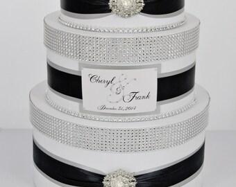 Wedding Card box / Card holder / Wedding money box - 3 tier - silver and black