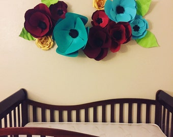 Set of 10 Paper Flowers: Poppies and Anemonies