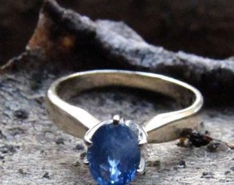DEADsy LAST GASP SALE Sailor's Sapphire: One Carat Blue Natural Sapphire in Yellow and White 14K Gold Setting - 1ct size 5 Alternative Gemst