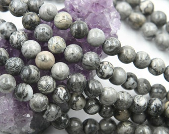 Lot of 5 strands 8mm Gray Map Picasso Jasper (N) Loose Spacer Beads Round 15.5 inch strand (BD5943)