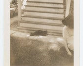 Vintage Snapshot Photo: Woman Playing with Cat, c1940s (69498)