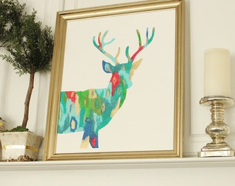 Colorful Abstract Deer Silhouette Art Print--11x14