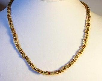 Vintage Gold Bohemian  Czech Glass Necklace   14K  Gold Filled    18 Inch