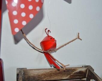 Red bird paper sculpture wall hanging, Nursery wall art, Bird mobile
