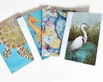 Art Note Cards, Beach Sea Turtle, Heron, Crab, Seahorse Set of 5 Blank Stationary Cards Printed with Original Paintings