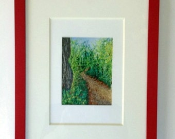 Embroidered Picture, Into the Woods Embroidery, Stitched Landscape, Stitch Paint Scene, Thread Painting, Free Motion Embroidered Landscape