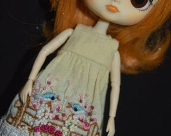 Dress hand dyed and embroidery handmade for Dal/Byul/Yeolume doll